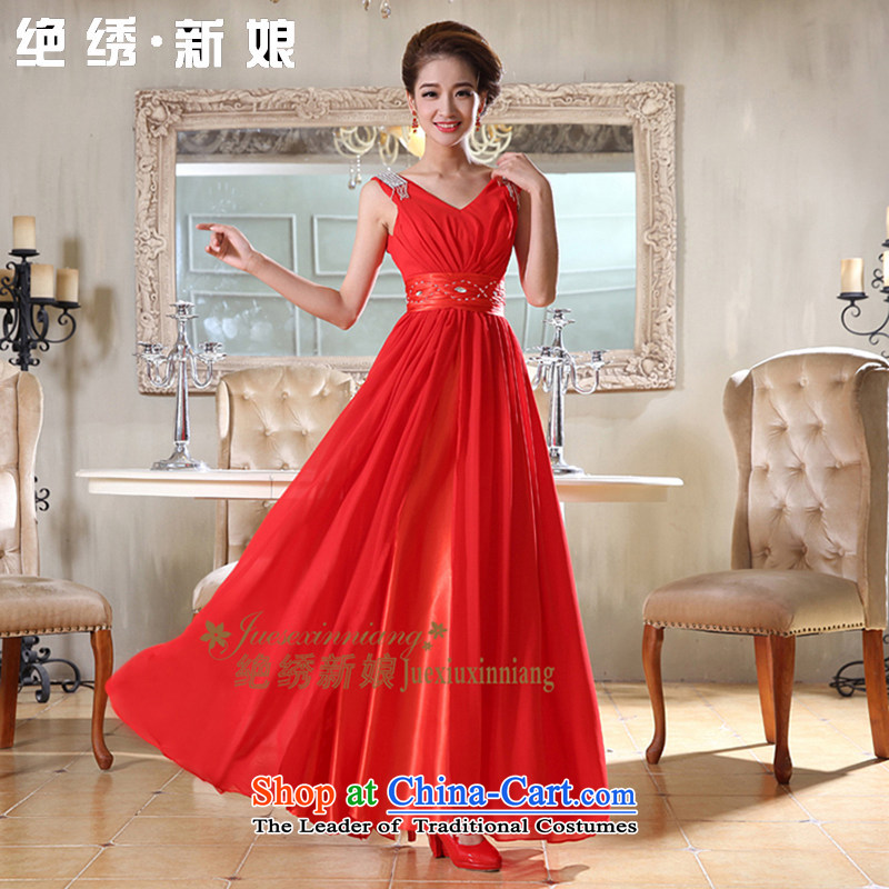 Embroidered is elegant shoulders bride sexy V-Neck Diamond Sau San unearthly chiffon long banquet bride evening dresses red tailor-made does not allow
