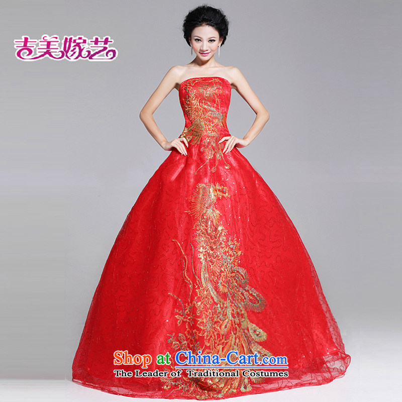 Beijing No. year wedding dresses Kyrgyz-american married new anointed arts 2015 Chest Korean skirt to align bon bon LS040 bridal dresses red L