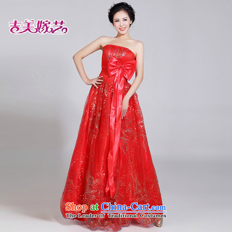 Beijing No. year wedding dresses Kyrgyz-american married new anointed arts 2015 Korean to align the chest bridal dresses 002 bride dress red�XS