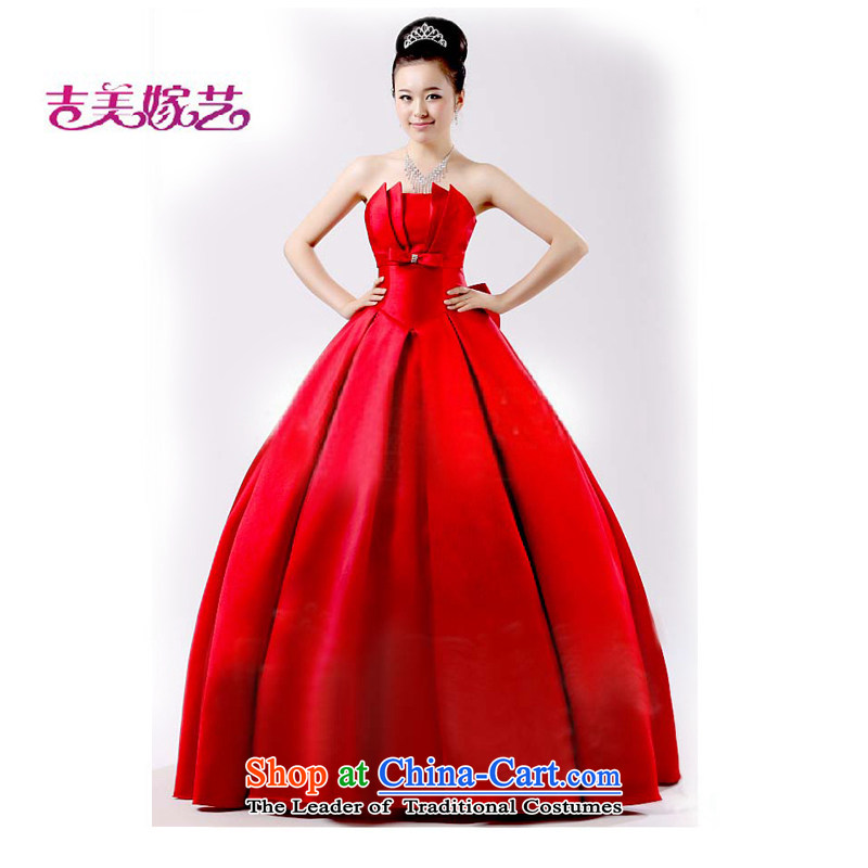 Beijing No. year wedding dresses Kyrgyz-american married new anointed arts 2015 chest to align the Korean dress LS318 bridal dresses red?S