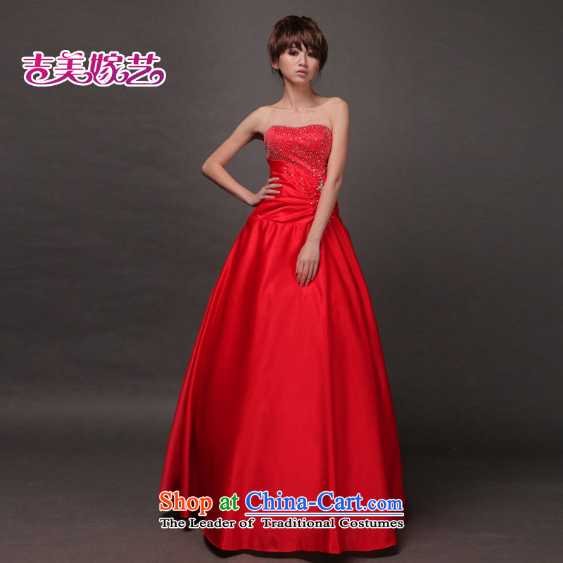 Beijing No. year wedding dresses Kyrgyz-american married new anointed arts 2015 Chest Korean skirt LS320 to align the Princess Bride dress red?S