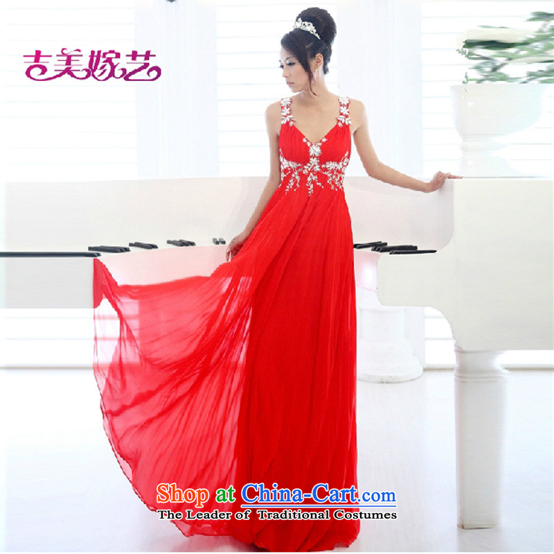 Beijing No. year wedding dresses Kyrgyz-american married arts new 2015 straps Korean Red Dress LS529 bridal dresses red�XS