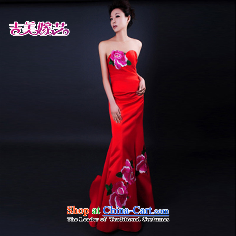 Beijing No. year wedding dresses Kyrgyz-american married new anointed arts 2015 Chest Korean dress small trailing LT251 bridal dresses red�XS