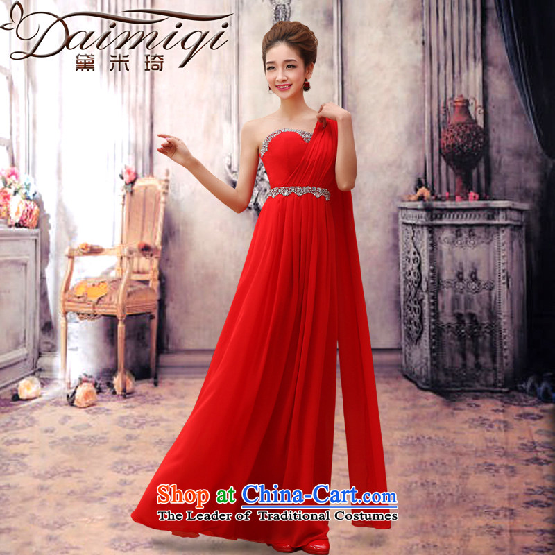 Doi m qi 2014 new marriage wedding dresses long thin red brides graphics betrothal marriage autumn and winter clothing shoulder video bows thin red dress?XL