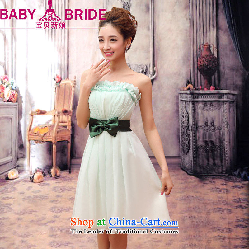 The Korean version of the new 2014 bridesmaid service, wipe the chest winter will dress sister mission dress belt butterfly sweet lovely mitzvahs betrothal chiffon dress light green?S