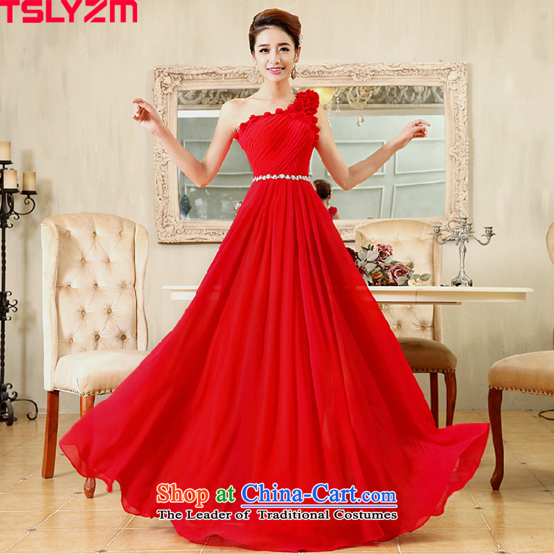 Tslyzm bride wedding dress uniform length of the bows of pregnant women bridesmaid Sau San video thin flowers shoulder evening dresses 2015 dulls new?D) red long?XL