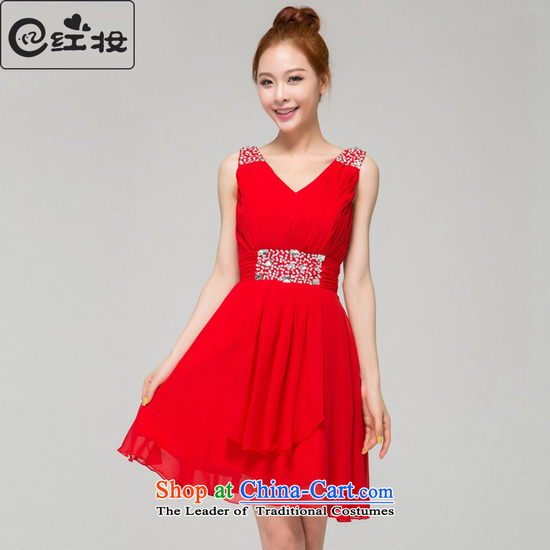Recalling that hates makeup and summer bride bridesmaid evening dress red V-Neck short of Sau San new stylish married 2015 moderator L13781 RED?M