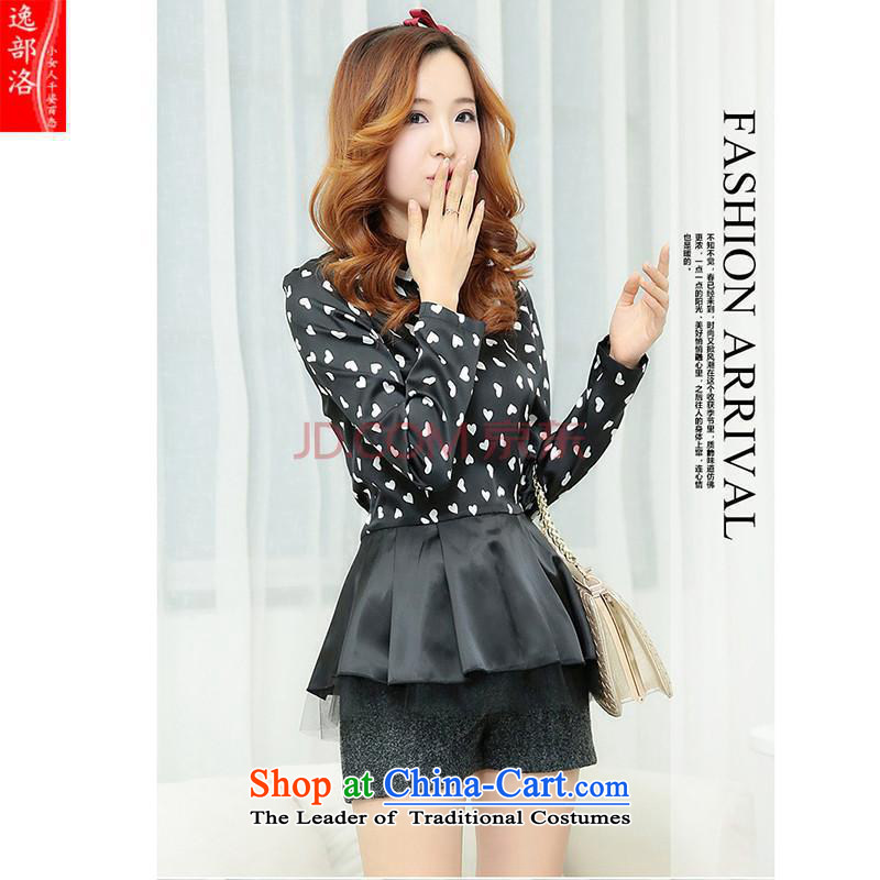 Install the latest Autumn 2014 ebulo shirts, stylish short skirts Sau San new heart-shaped skirt aristocratic evening dresses xnr black?L