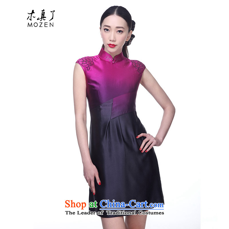 Wooden spring and summer of 2015 really stylish embroidered dress qipao Sau San gradient skirt聽21880 18 PINK聽L