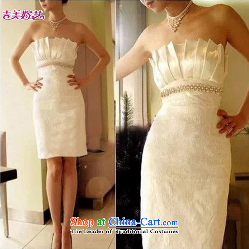 Wedding dress Kyrgyz-american married new anointed arts 2015 Chest Korean dress short of Princess Bride 012 dress champagne color?S