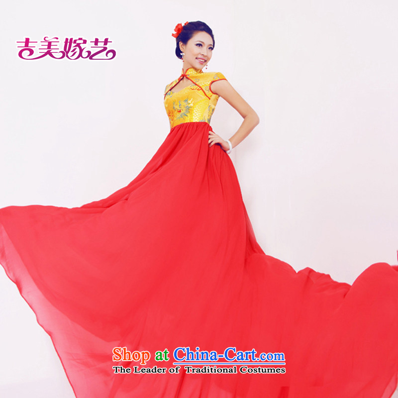 Wedding dress Kyrgyz-american married arts New Package 2015 shoulder Chinese tail LT617 Sau San bridal dresses Gold Red?S