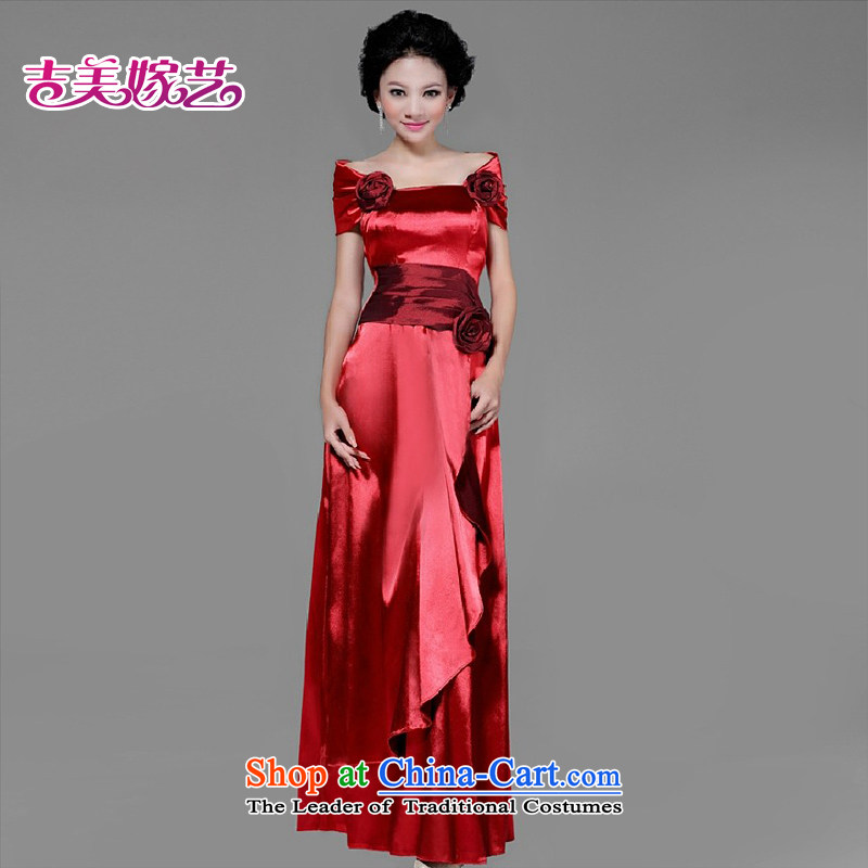 Wedding dress Kyrgyz-american married Korean arts blooming luxury sexy bride evening dresses LS3301 bridal dresses red?XL