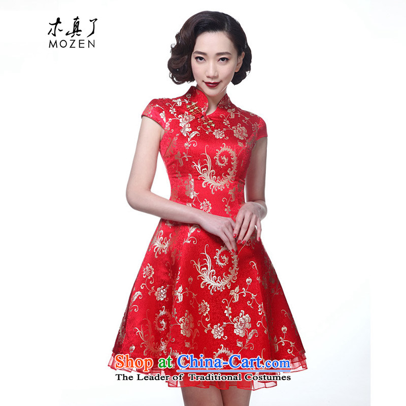 Wooden spring and summer of 2015 really new women's dresses elegant Chinese spelling bridal dresses skirt package mail yarn 11591 04 red?XXL