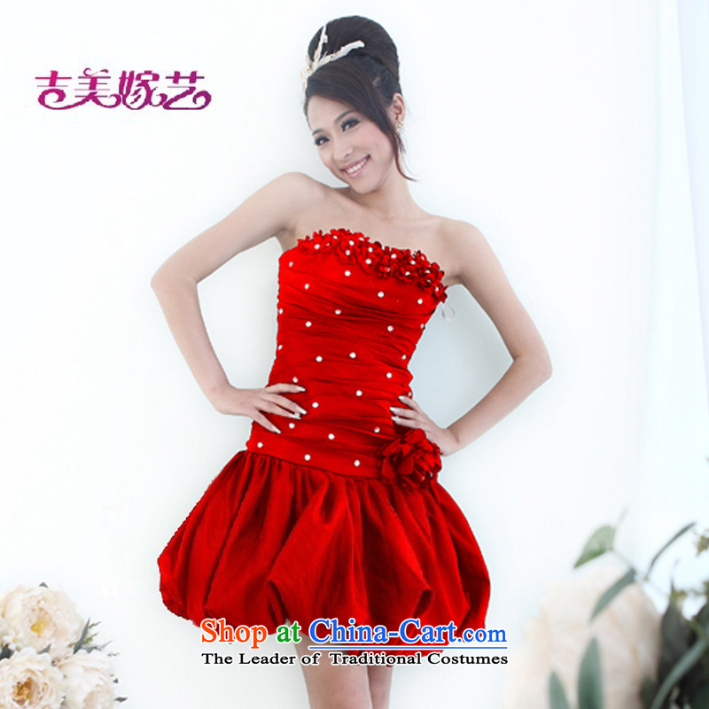 Wedding dress Kyrgyz-american married new anointed arts 2015 Chest Korean short Dress Short L524) Bride dress RED�M