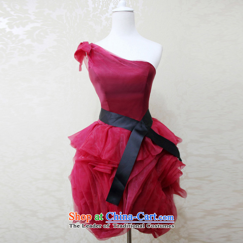 Wedding dress Kyrgyz-american married arts 2015 Wang weiwei shoulder the new Korean dress short L824) Bride dress wine red?L