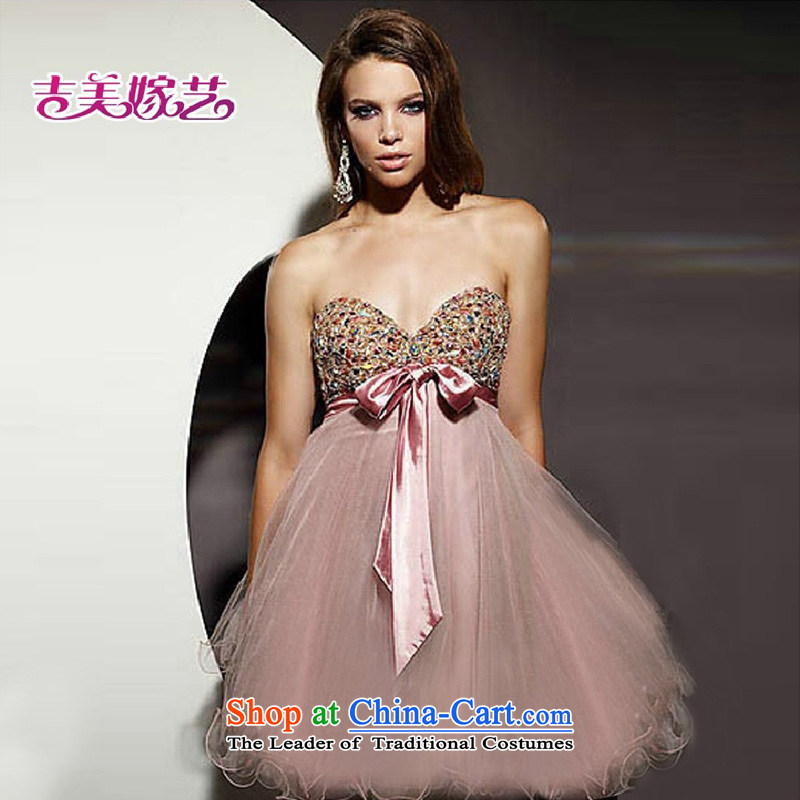 The new Korean bon bon skirt deep color chip on drill V dress L611 customizable bridal/bridesmaid small dress RED?M