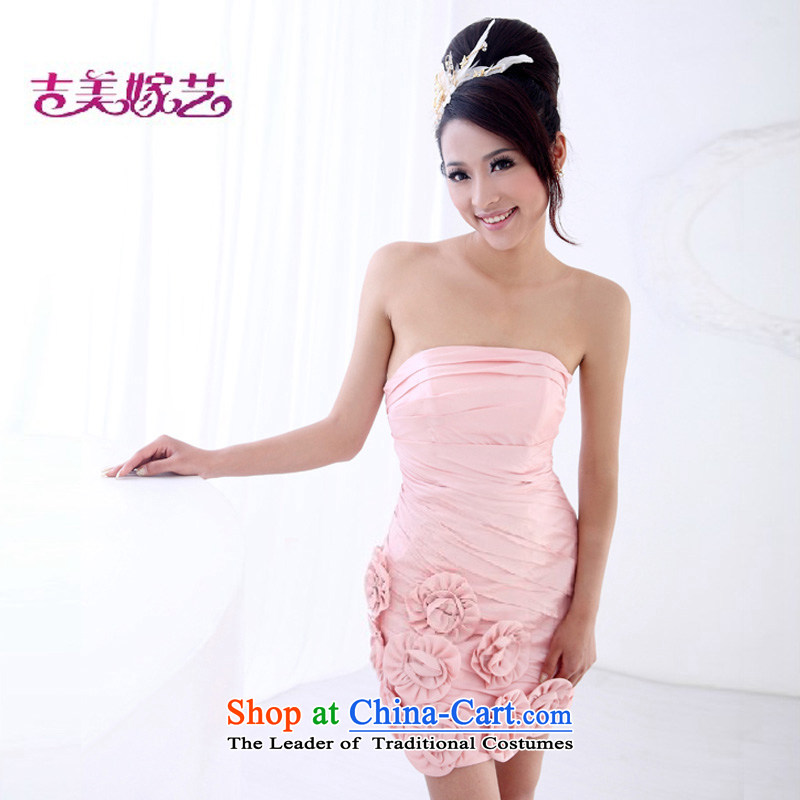 Wedding dress Kyrgyz-american married new anointed arts 2015 Chest Korean pink dress short of short L525-f bridal dresses pink�S
