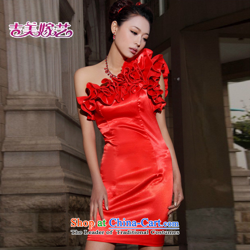 Wedding dress Kyrgyz-american married arts shoulder the new 2015 Korean dress short of Princess Bride dress red?S 305