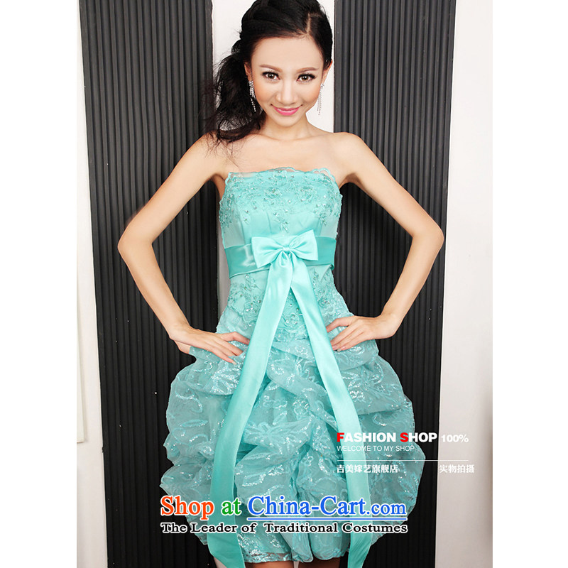 Wedding dress Kyrgyz-american married new anointed arts 2015 Chest Korean dress short L233-g) Bride dress water green�XS