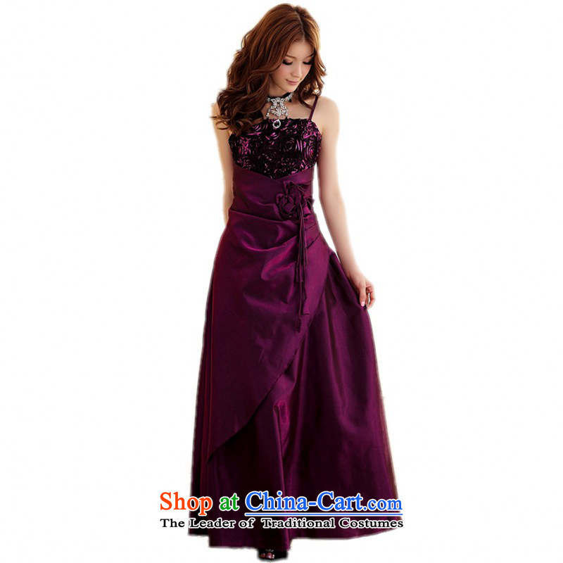 C.o.d. xl female graphics thin roses evening banquet slips dresses, Chairman of the small evening dress skirt thick mm long skirt bridesmaid skirt mauve?XL(130-150 catties)