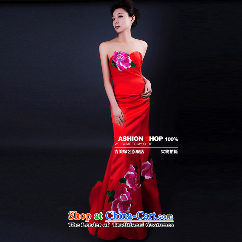 Beijing No. year wedding dresses Kyrgyz-american married new anointed arts 2015 won the red chest crowsfoot LS253 bridal dresses red standard�M