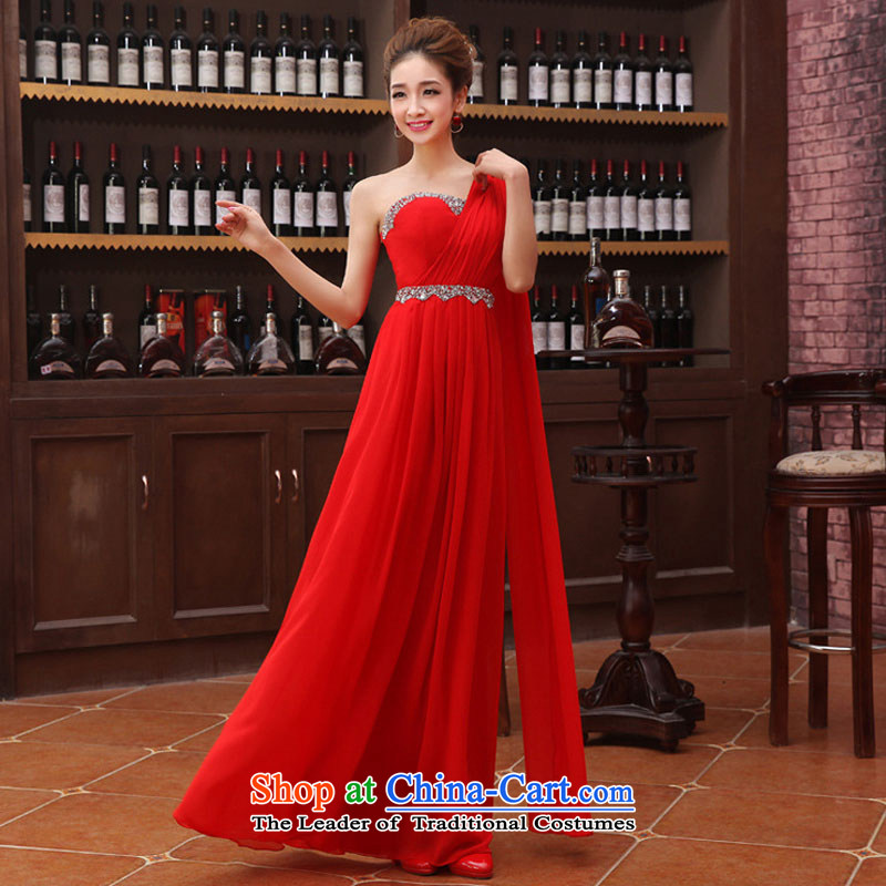 Optimize the new Korean Hong-Beveled Shoulder ribbons flash drill chiffon bows services evening dresses XS8178 RED聽L