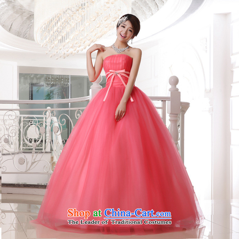 Optimize Hong-spring and summer new Korean sweet candy colored wiping the chest to bind with bride wedding dresses XS8182 candy colored?XXXL