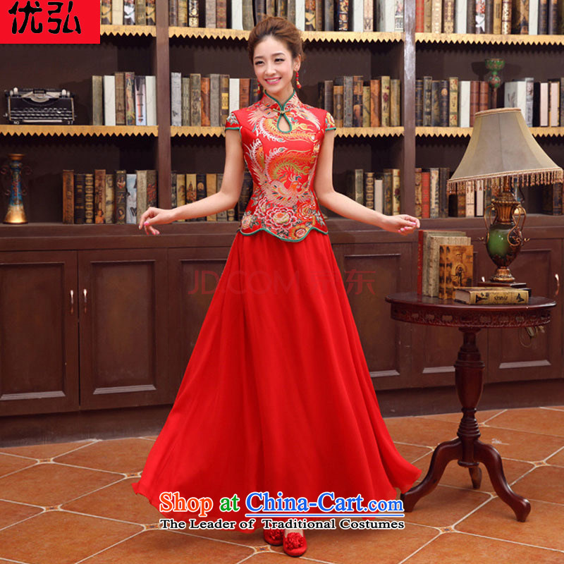 Optimize Hong-spring and summer New Classic double-shoulder length) to align the bride wedding dress XS8186 RED?XXL