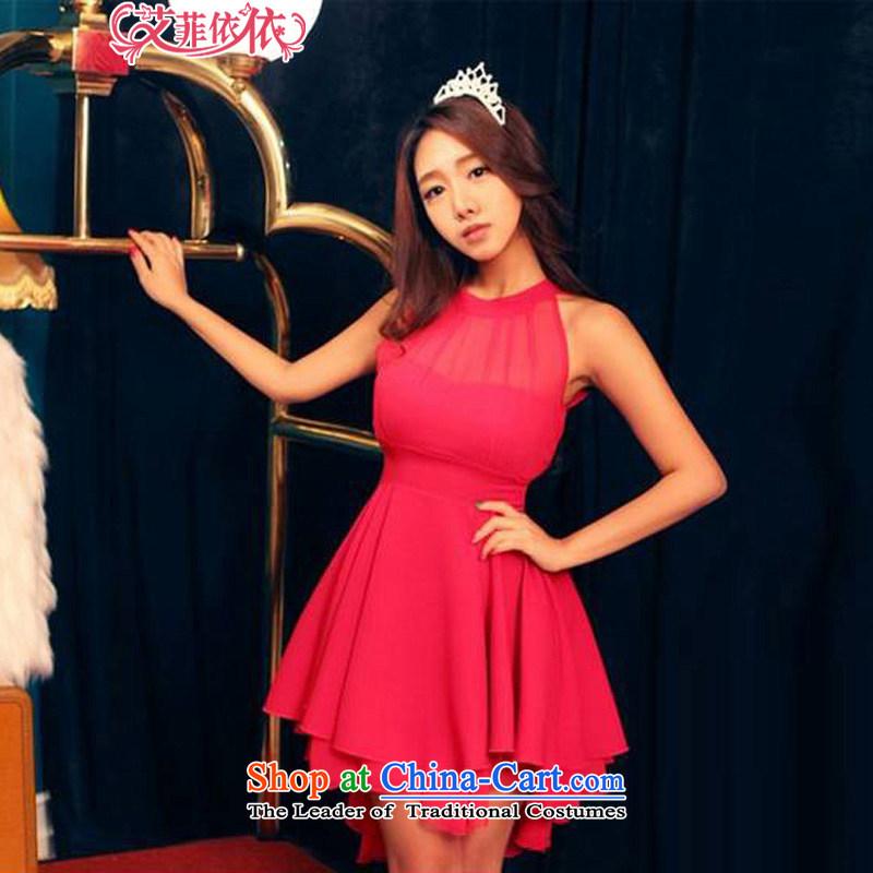 Reft Eiffel gauze stitching sexy moderator dress skirt�2015 won a new edition sleeveless Sau San back chiffon large dresses in RED�M Code 5036