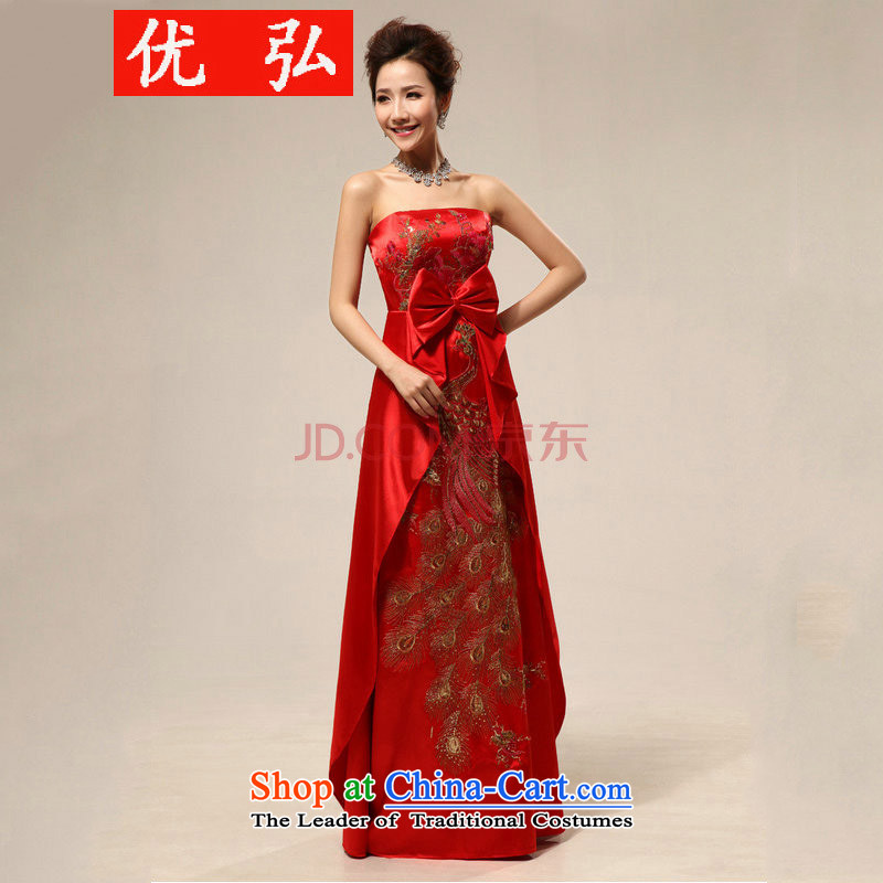 Optimize video new pregnant women embroidery peony flowers Phoenix wedding dress uniform XS8192 bows red S