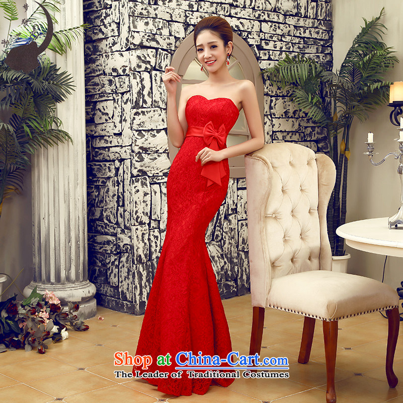 The leading edge of the bows service day marriage wedding dress crowsfoot qipao will long female wedding dress 7567 red tie) L 2.1 foot waist
