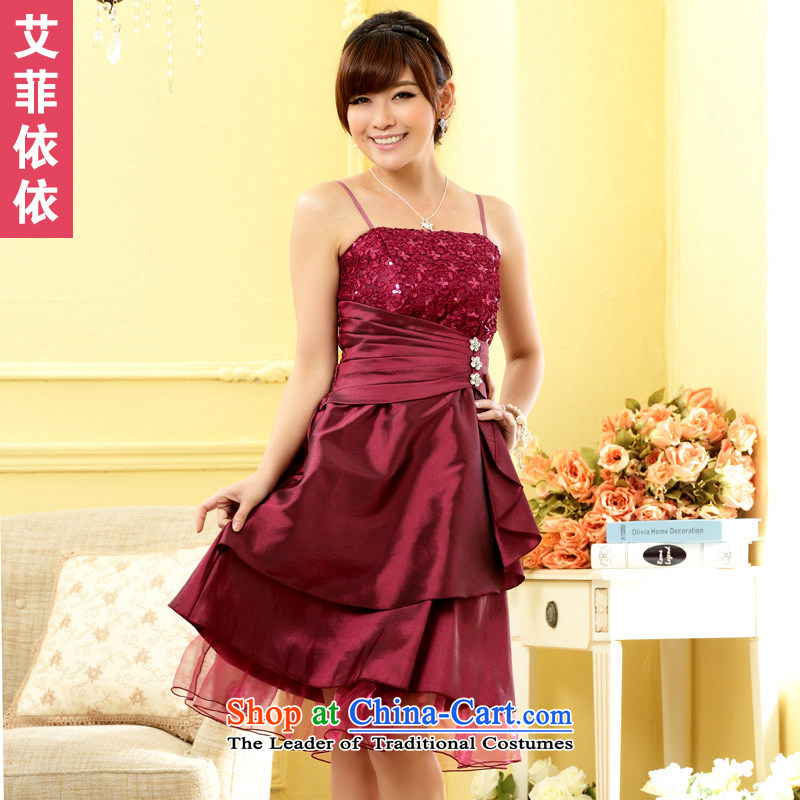 Of the?2015 Korean glued to the new women's short of large numbers of marriage banquet moderator bride bridesmaid lamings light drill wedding dresses skirts small bows 5044 Magenta are code