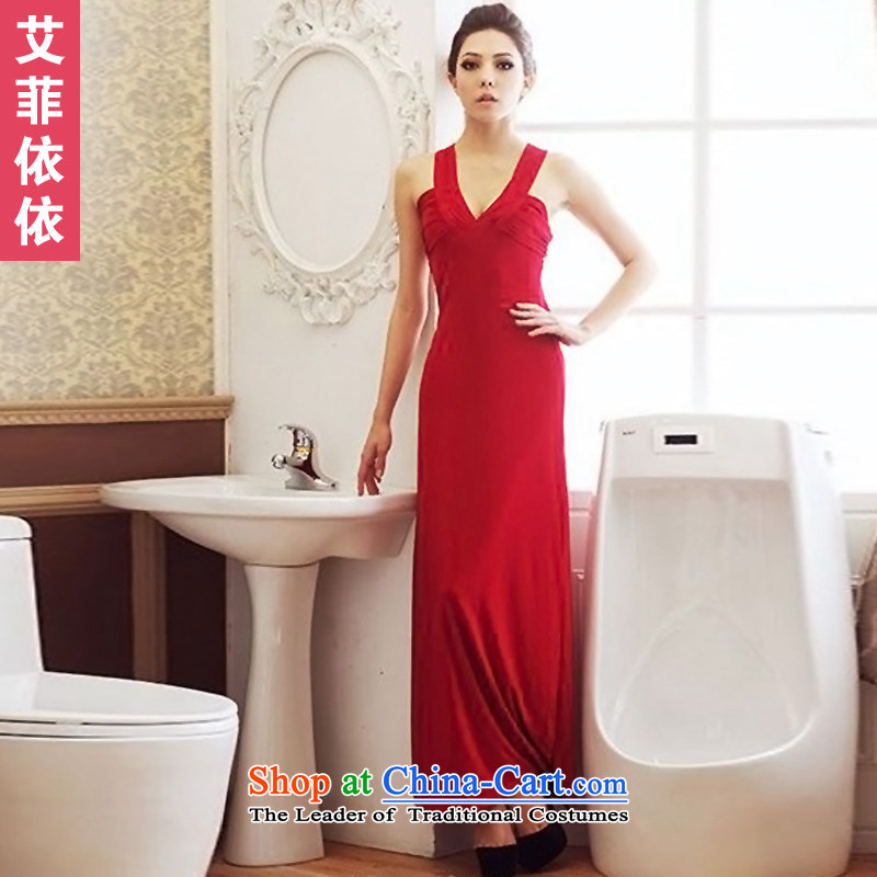 Reft of sexy V-Neck long evening dresses?2015 Korean banquet hosted performances bride services company annual toasting champagne evening dress code are red 5049