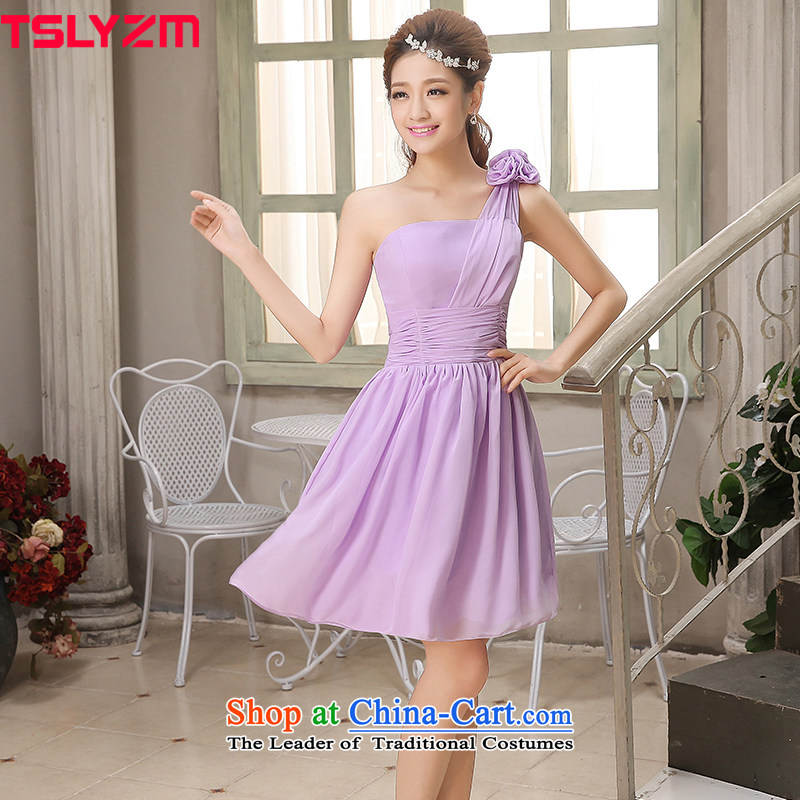 Tslyzm bridesmaid service dinners dress 2015 new autumn and winter shoulder straps flower girl bridesmaid dress with a light purple?L
