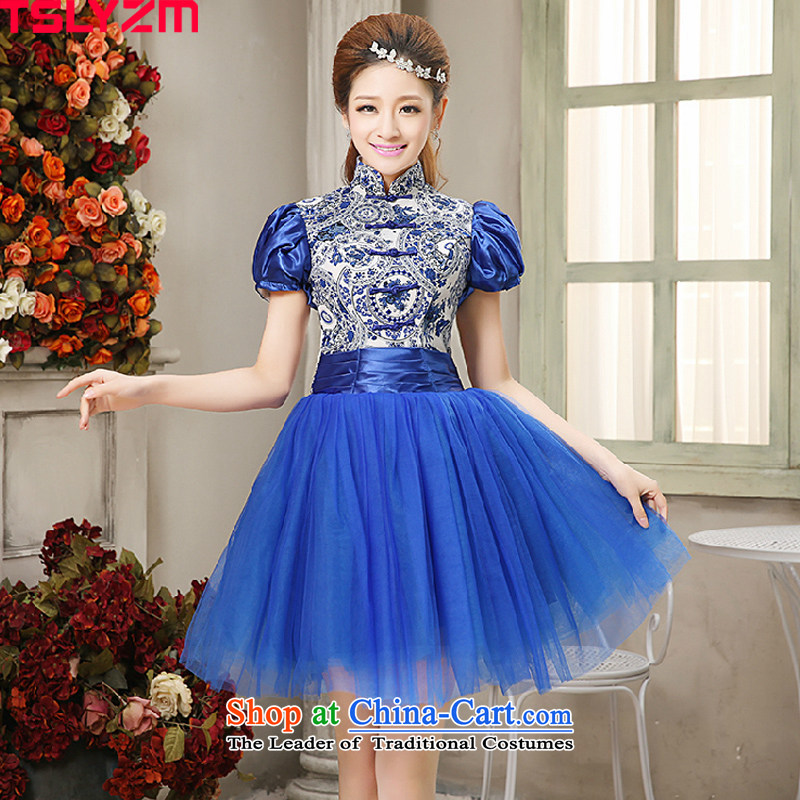 Tslyzm antique porcelain banquet moderator Dress Short, photo building theme clothing photo album small short skirt princess bubble Gala Evening Dress blue sleeve?L