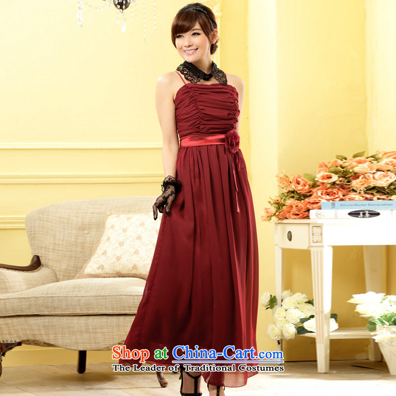 The end of the light (MO) Fashion and sisters QIAN skirt bridesmaid flowers long version of the evening dresses chiffon larger dresses�XXXL Scarlet