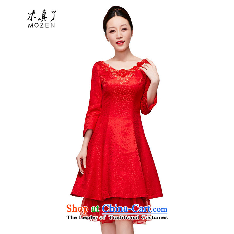Wood of 2015 Summer really new spring and summer embroidery 7 cuff dress elegant bride skirt?vehicle per day for a total monthly e-mail package 04 Red?XXL