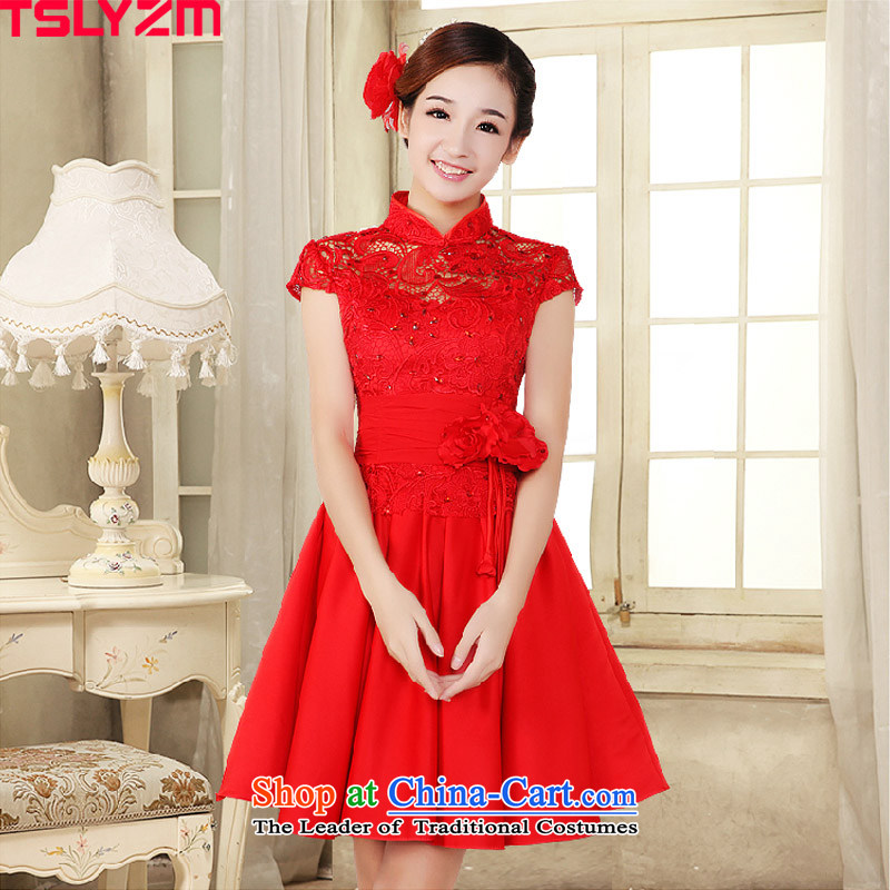 Tslyzm2015 dulls the new bride dress marriage dresses lace red packets, bows to shoulder short dress evening dresses betrothal service female red XXL