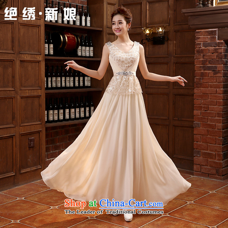 Embroidered bride bride services is long evening dress etiquette choral concert under the auspices of the bride services serving drink champagne color?S?Suzhou Shipment