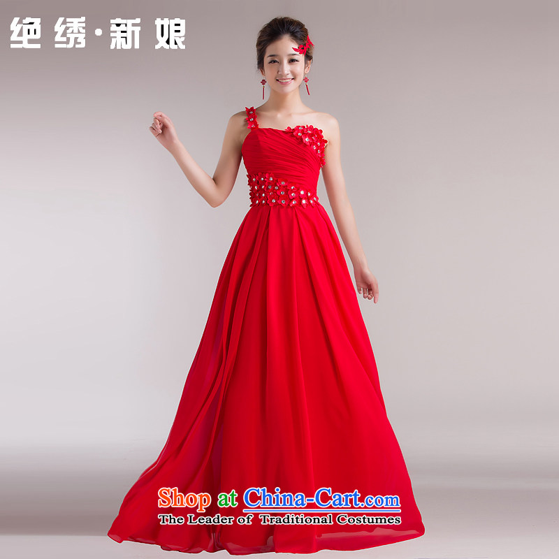 Wedding dresses new marriages bows services 2015 Korean shoulder princess flowers short_ bridesmaid evening dress long red straps for not returning