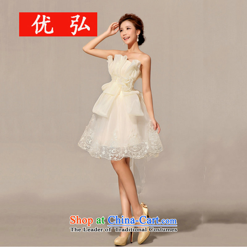 Optimize the new 2013 Hong-bridesmaid dress bows service, evening dresses XS7140 champagne color聽XL