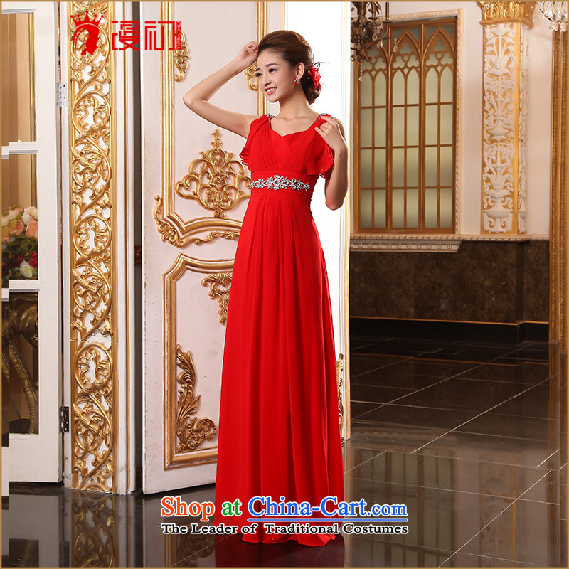 In the early 2015 new man bride dress shoulders long evening dresses marriage bows services bridesmaid long gown red?L