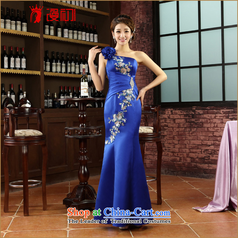 In the early 2015 new man dress shoulder flowers dress blue banquet dress marriages bows long Lai blue?S