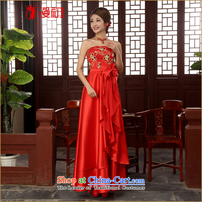 In the early 2015 new man bride dress wedding dress wiping the long red dress chest banquet lace evening dress red?S