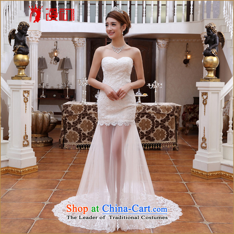 At the beginning of Castores Magi wedding dresses 2015 Spring_Summer new sexy lace fluoroscopy small trailing Korean Version White?M Thin sweet Bride