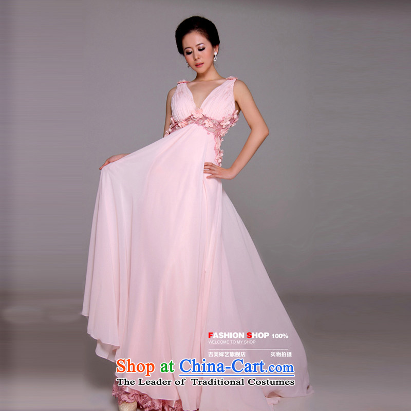 Beijing No. year wedding dresses Kyrgyz-american married arts new 2015 straps Korean dress tail LT1163H larger bridal dresses pink?6#