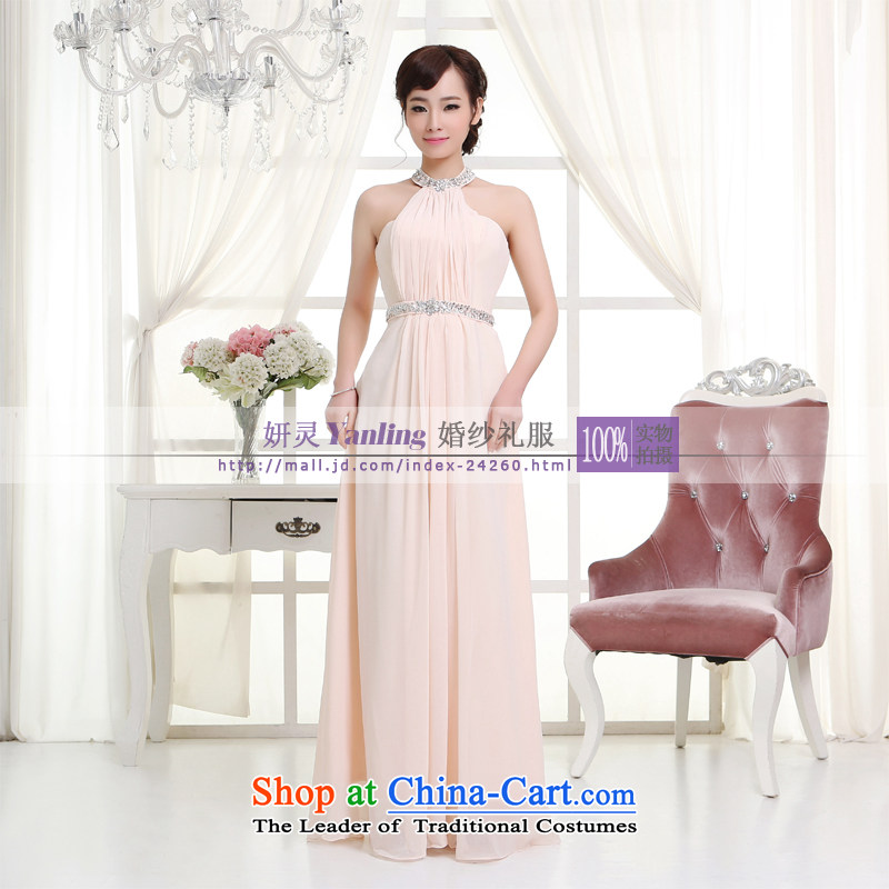 Charlene Choi Ling _YL2014 new marriages of evening dress uniform long -14048 bows pink?XXL