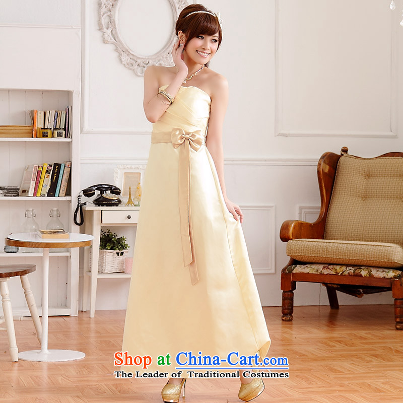 �The elegant drapes extracting Jk2.yy noble foutune and sesquipedalian spell color long version of the sexy dinner will dress dresses champagne color�XL