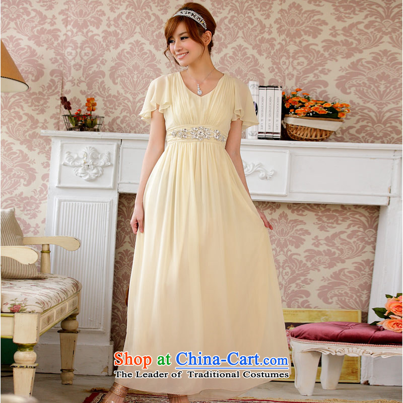 ?The Korean version of the aristocratic Jk2.yy Niba cuff video thin dinner Chairman of large numbers of pregnant women dress dresses?XXXL champagne color
