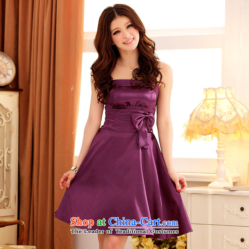 ?The Bow Knot Jk2.yy Victoria foutune dinner will be suspended with large bridesmaid dress dresses?XXXL Purple